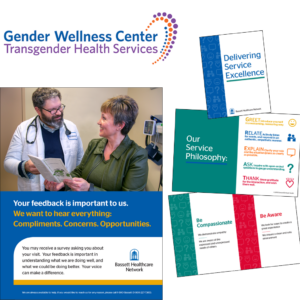 Bassett Healthcare System — Support the Customer Service team with designing customer-facing materials like hospital maps, menus, and patient guides. Developed the Gender Wellness Center branding.