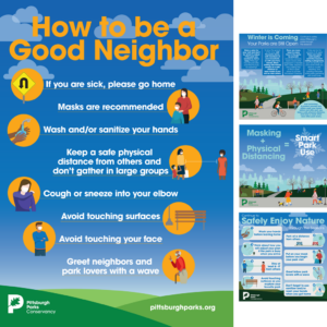 Pittsburgh Parks Conservancy — Designed and supported copy writing for a variety of COVID-19 communications including outdoor signs, social, email, and website graphics to educate the community as park usage increased significantly throughout the pandemic.