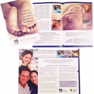 University of Massachusetts Medical School — Designed and produced collateral material for the Newborn Screening Program at the Children's Medical Center. Completed while at William J. Green & Assoc.